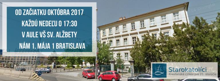 Od októbra 2017 sa naše bohoslužby konajú pravidelne každú nedeľu o 17:30 v priestoroch Vysokej školy sv. Alžbety na Námestí 1. mája 1 v Bratislave - len pár krokov od prezidentského paláca na Hodžovom námestí.