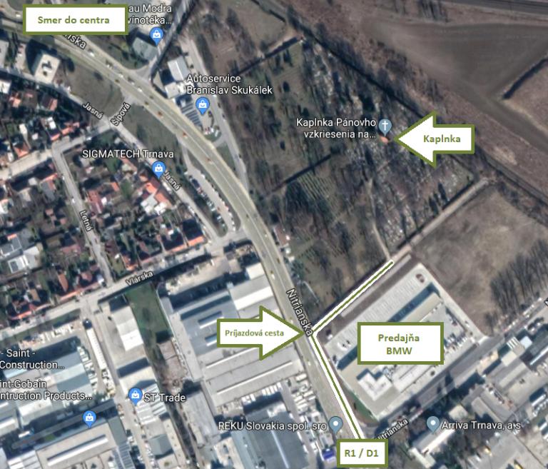 Mapa - Kaplnka Pánovho vzkriesenia na Evanjelickom cintoríne v Trnave